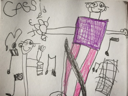drawing of Bobert and volunteer band by Kinders of Unsworth Elementary in Chilliwack, BC.